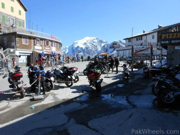 Bikes parked in Bormio, Italy, before riding the pass