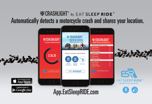CrashLight® by EatSleepRIDE automatically detects a crash and notifies your contacts