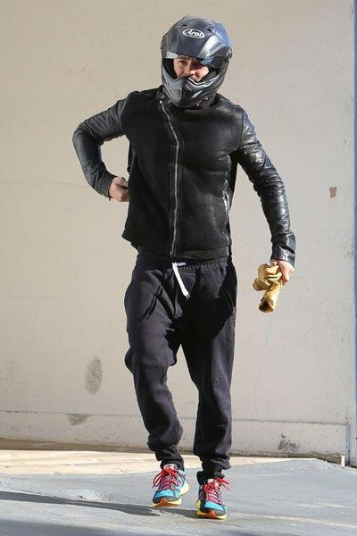 Orlando Bloom in motorcycle gear