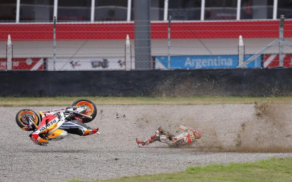 Marc Marquez crashed on turn two well into third gear