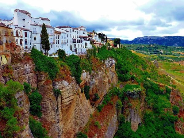 The House-lined cliffs in Ronda, Spain
