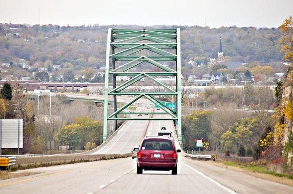 Dubuque Wisconsin Bridge heading toward Iowa