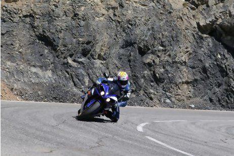 Hairpin turn on motorcycle