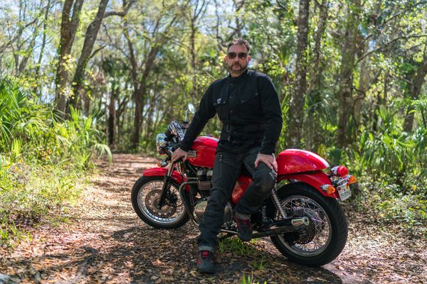 Triumphs, Thruxton and Barbour together in Florida