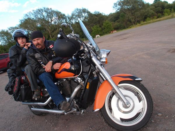 Honda Shadow Sabre with Pete and his son 2