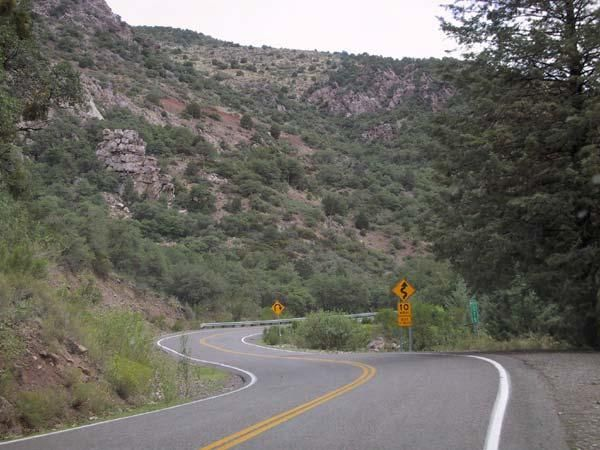 Coronado Trail curves and sign, Arizona