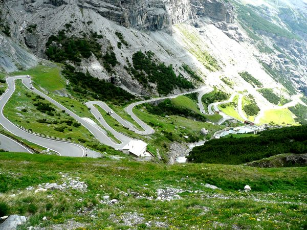Fantastic view of the 60 hairpins, Stelvio Pass, Italy