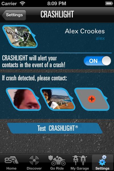 CRASHLIGHT Set your contacts - EatSleepRIDE Motorcycles App
