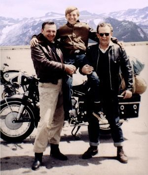 Robert Pirsig (left), his son Chris (centre) and John Sutherland travel through Minnesota in 1968.