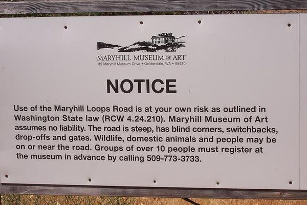 Maryhill Loops Road - Notice Sign