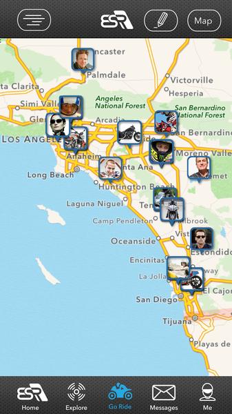Nearby Riders Map - EatSleepRIDE Motorcycle GPS App