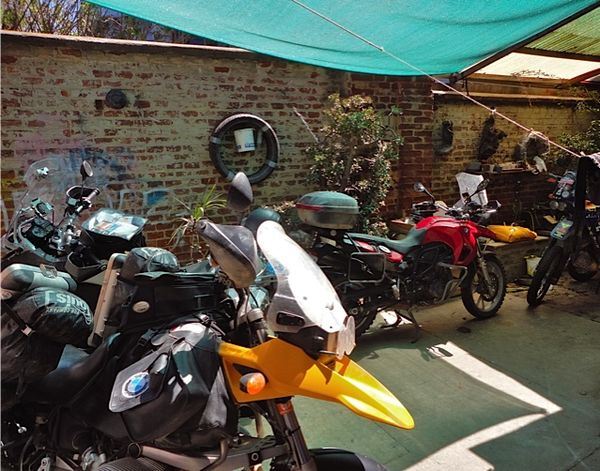 Motorcycle parking at Villa Kunterbunt