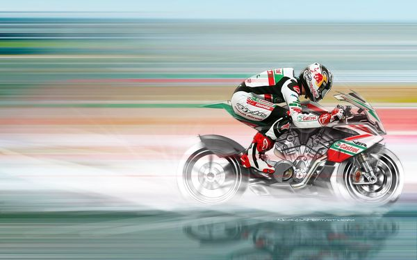 Petit's Honda VFR Rendering complete with piloting Jonathan Rea