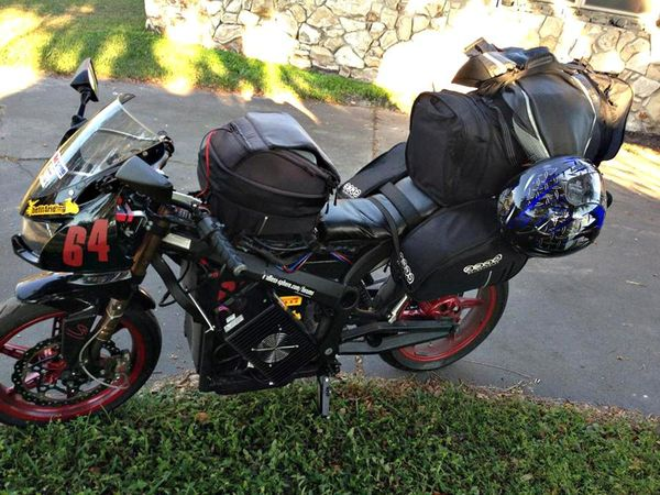 Terry Hershner's all-ecetric Zero S packed for a 3,500 mile road trip