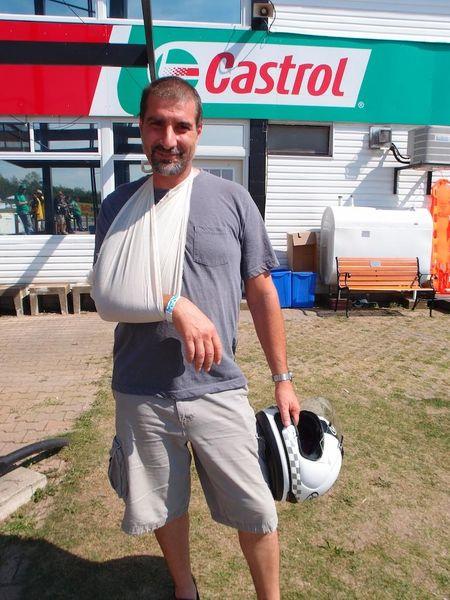 Costa Mazouris after his dramatic crash in Race #10 CBR250R CSBK