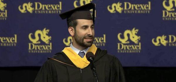 Anthony speaking at Drexel University (photo: Drexel U)