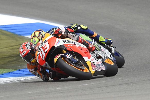 Marquez and Rossi made contact in the Assen MotoGP in their final-lap causing a collision, June 2015