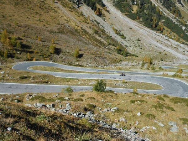 Hairpins on Umbrail Pass, Swiss Alps