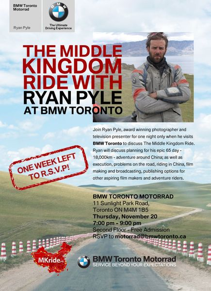 BMW Toronto Hosts China Circumnavigator Ryan Pyle