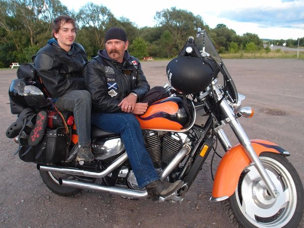 Honda Shadow Sabre with Pete and his son.