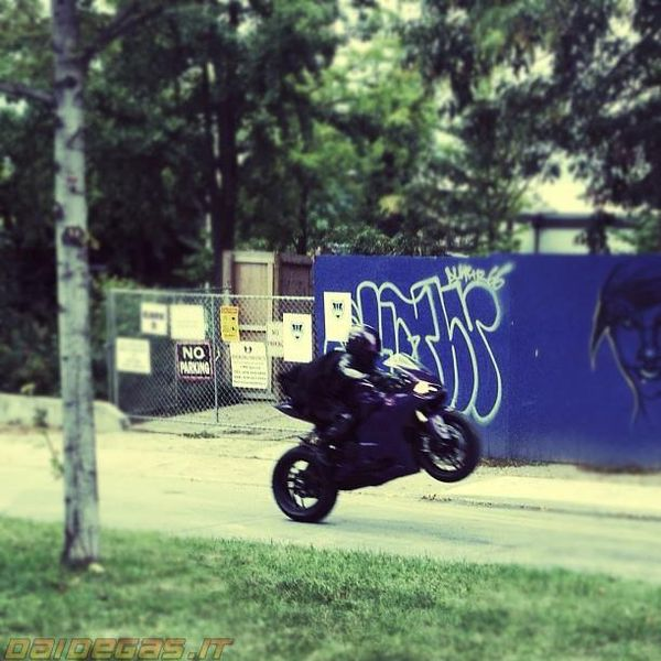 Hit-Girl and Purple Ducati wheelie on set for Kick-Ass 2 filming