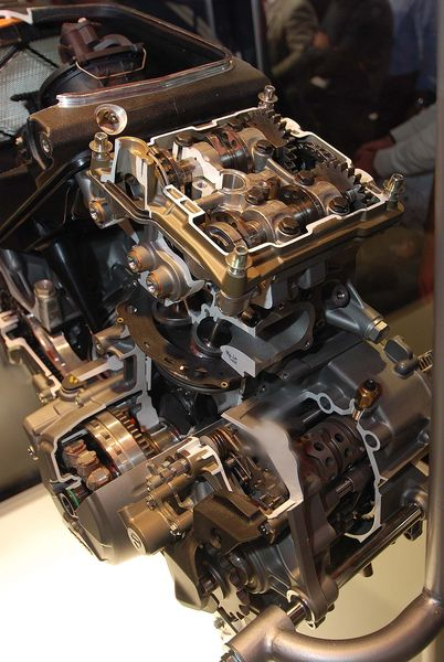 Cut-away photo of Ducati's Superquadro Engine