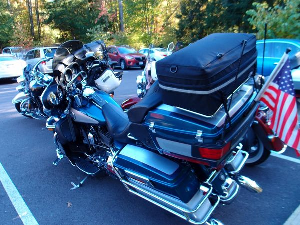Harleys at Fallingwater parking lot