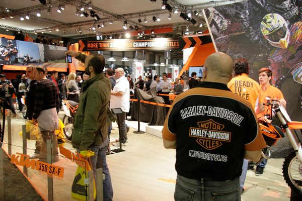 KTM at EICMA2013 - He may be wearing orange but he's not fooling anyone