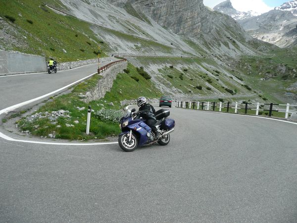 Fantastic view one of the 60 hairpins, Stelvio Pass, Italy