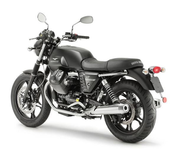 2013 Moto Guzzi V7 Stone - rear quarter view