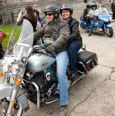 B&S BC Sol Gen Shirley Bond riding pillion with Trans Man