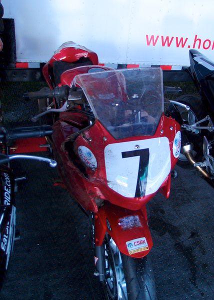 1st Crash Sean Smith - CBR250R front view