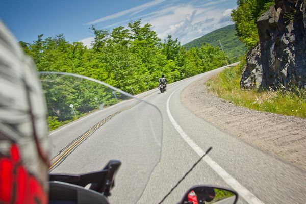 View from motorcycle - Grand Algoma Tour