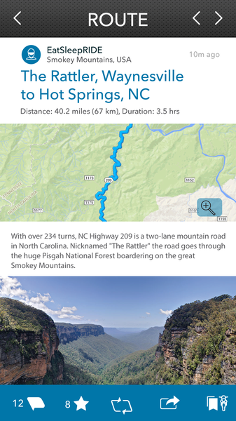 Discover Routes - EatSleepRIDE Motorcycle GPS App