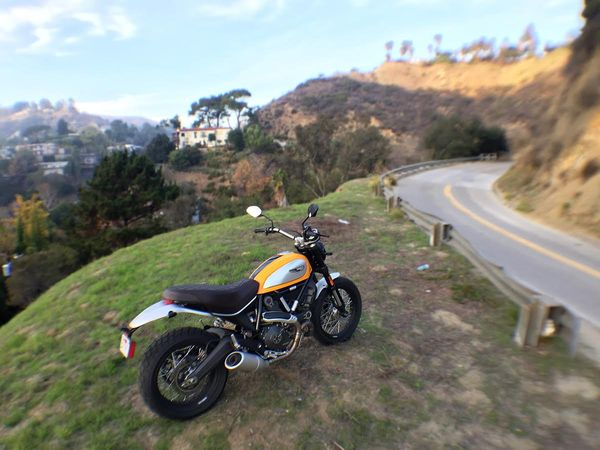The hills of Los Angeles are full of twisty asphalt gems. Finding oneself on an empty mountain road only minutes from a massively crowded city is very enjoyable aboard the Scrambler.