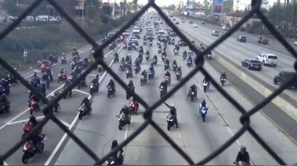 Hundreds of bikers close down California freeway for a proposal