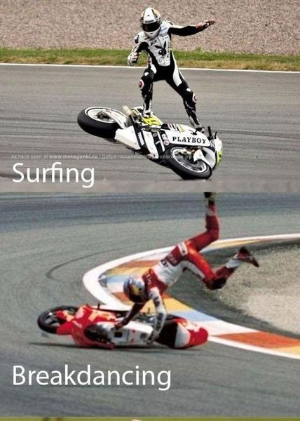 Motorcycle surfing and breakdancing