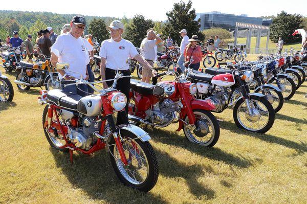 A gaggle of classic Hondas