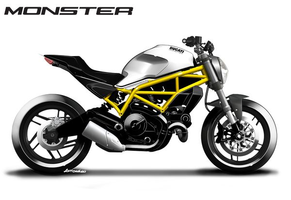 Design sketch of the Monster 797 shows it's lines
