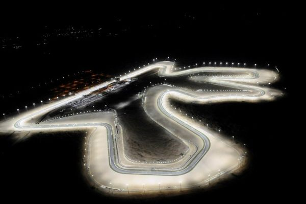 The Losail International Circuit lit up at night