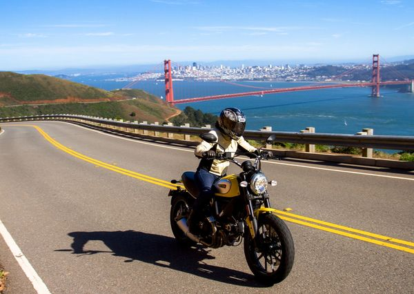 Riding the Scrambler up Hawk Hill to the overlook of the Golden Gate bridge