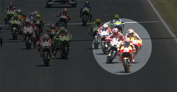 Petrucci trading paint with Marquez at the race's start