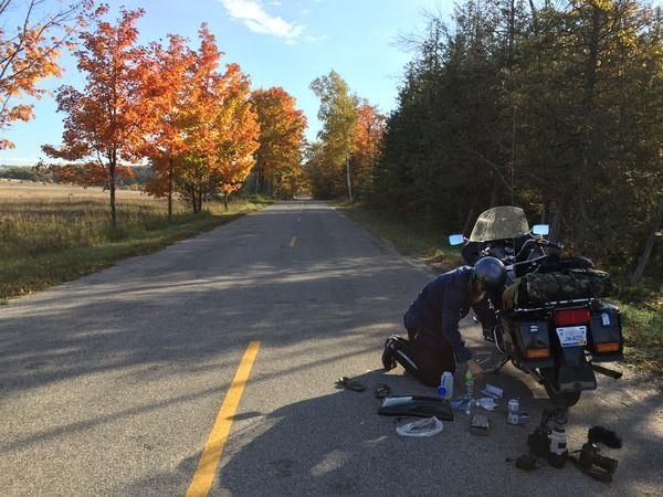 Roadside repair by James with Spencer Millsap for EatSleepRIDE