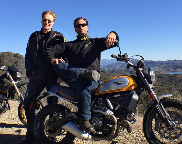 Scrambling around the hills of Southern California with TV host Conan O'Brien, a recent inductee to the motorcycle world.