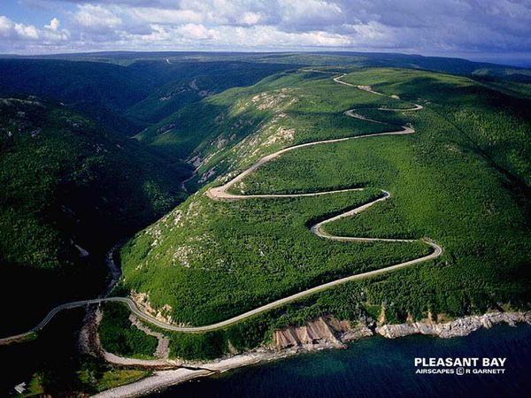 Aerial view of Cabot Trail, Nova Scotia - Scenic Motorcycle Road
