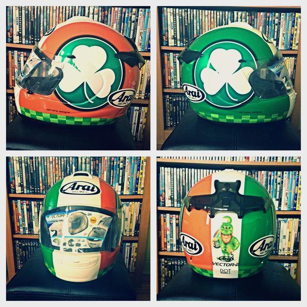 The Arai Vector 2 helmet before the crash