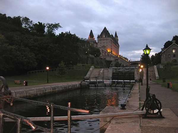 View of Chateau Laurier from Rideau Canal