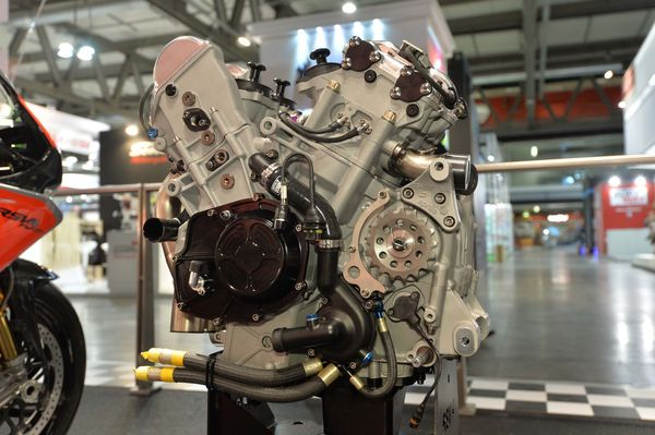 The FW GP's upgraded V4 power plant (photo: Aprilia)