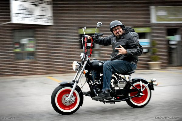 John from Motorcycle Enhancements riding the custom CSC-150 Greaser