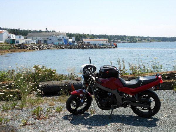 Bike and the waters of Marine Drive, Nova Scotia